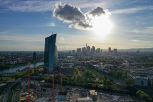 Clouds on the horizon: The European Central Bank HQ in Frankfurt