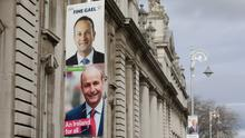 Promises: Election posters outside the Department of Finance in Dublin. Photo: PA
