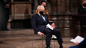 Prime Minister Boris Johnson at London's Westminster Abbey, during a service to mark Armistice Day last week. Photo: Jeremy Selwyn/Evening Standard/PA​​​​​​​ Wire