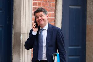 Minister for Finance Paschal Donohoe arrives at Dublin Castle for a Cabinet meeting on Tuesday. Photo: PA