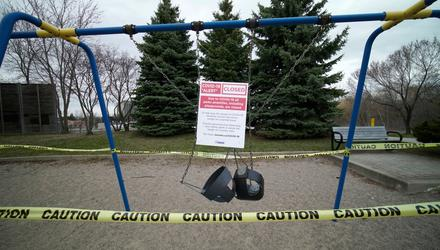 Swing set is left abandoned and locked due to Covid-19 restrictions