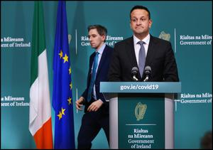 Taoiseach Leo Varadkar and Health Minister Simon Harris at a Government Covid-19 Press Briefing at Government Buildings. Pic Steve Humphreys