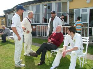FAMILY MAN: Alan Ruddock at Pembroke Cricket Ground with his father John and son Matthew, both seated