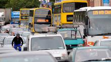 Transport emissions are on the rise as congestion clogs the country's busiest roads and traffic returns to boom-time levels. Stock Image