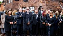 Defiance: Sinn Féin leadership figures including Mary Lou McDonald, Gerry Adams and Michelle O'Neill attend the funeral of Bobby Storey. Photo: PA