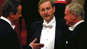 SYMBOLIC: David Cameron, Enda Kenny and Martin McGuinness at the banquet in Windsor