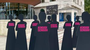 Cut-out figures of women at the headquarters of London's Metropolitan police force in the wake of the Sarah Everard murder. Photo: Sophie Wingate / PA