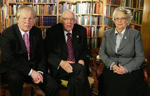 Journalist Eamonn Mallie with Ian and Eileen Paisley during filming of the documentary.