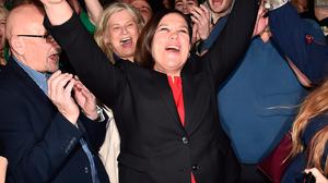Sinn Féin leader Mary Lou McDonald celebrates with her supporters after being elected at the RDS count centre in 2020