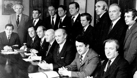 The Fianna Fáil front bench in the 1970s, including Jack Lynch, Des O'Malley and Charles Haughey