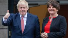Betrayal: 'It's hard to sell a marriage when it looks like your spouse is treating you with utter contempt.' British PM Boris Johnson with DUP leader Arlene Foster at Stormont in January last year
