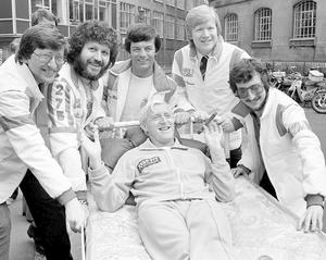 Serial sex offender Jimmy Savile (seated) in 1980 with fellow Radio One DJs, left to right, Simon Bates, Dave Lee Travis, Tony Blackburn, Kid Jensen and Steve Wright. Travis was found not guilty of 12 indecent assault charges and the jury at London's Southwark Crown Court failed to reach verdicts on two other charges. PA