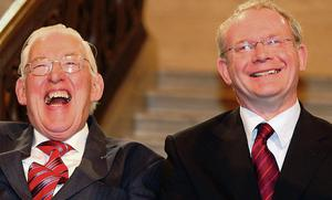 Paisley and Sinn Fein deputy leader Martin McGuinness became know as the 'Chuckle Brothers' while in office.
