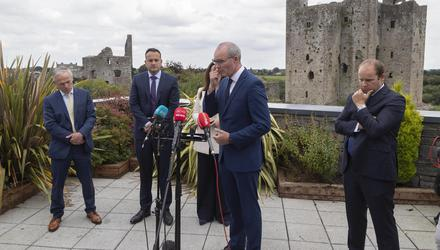 Fine Gael deputy leader Simon Coveney and Tánaiste Leo Varadkar at the Trim Castle Hotel for the second day of the Parliamentary Party 'think-in'. Photo: Colin Keegan, Collins Dublin