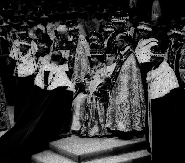 Queen Elizabeth II at her Coronation in London's Westminster Abbey June 2, 1953.