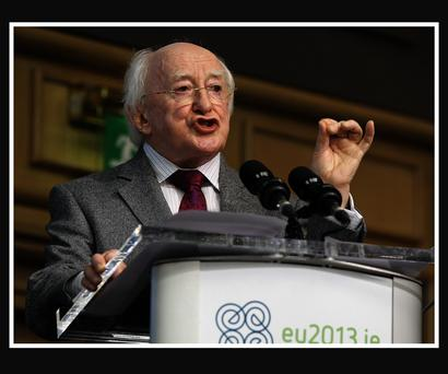 President Michael D Higgins pictured during the opening ceremony of the Hunger Nutrition Climate Justice conference in the Conference Hall, Dublin Castle as part of the Irish Presidency of the Council of the European Union, yesterday. Pic Frank Mc Grath