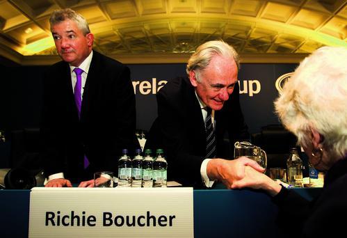 Archie Kane (right) with Bank of Ireland CEO Richie Boucher in background