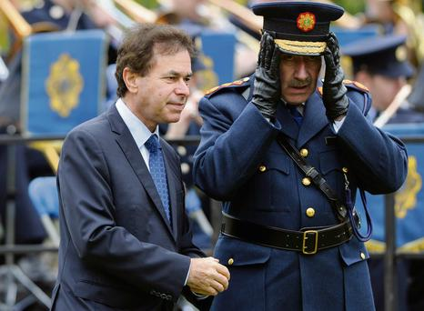 Garda Commissioner Martin Callinan and the Justice Minister Alan Shatter attend a memorial service for Gardai killed in the line of duty at Dublin Gardens, Dublin Castle, Dublin. PRESS ASSOCIATION Photo. Picture date: Saturday May 18, 2013. Photo credit should read: Niall Carson/PA Wire