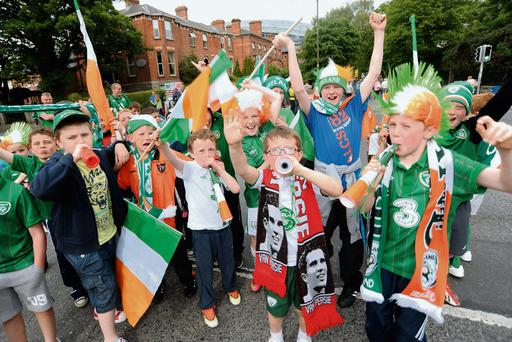Fans from Waterford make some noise before the Ireland vs Georgia friendly at the Aviva Stadium in Dublin. Ireland came out as 4-0 victors