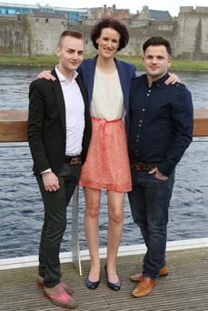 Couple Calvin Hayes, left, and Stevie O'Driscoll who are to marry in August, with their wedding planner Sharon McMeel
