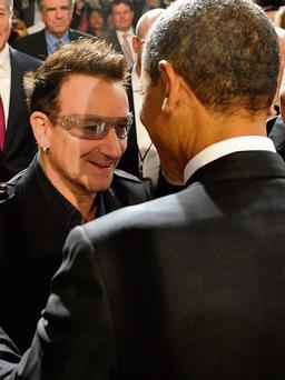 Bono meeting Barack Obama