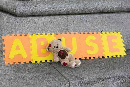 A teddy bear on the footpath outside the Westin Hotel, Dublin where the Women's Aid annual report was launched