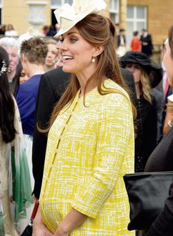 Kate Middleton at a Buckingham Palace reception in last month. Her entire pregnancy has been carefully choreographed