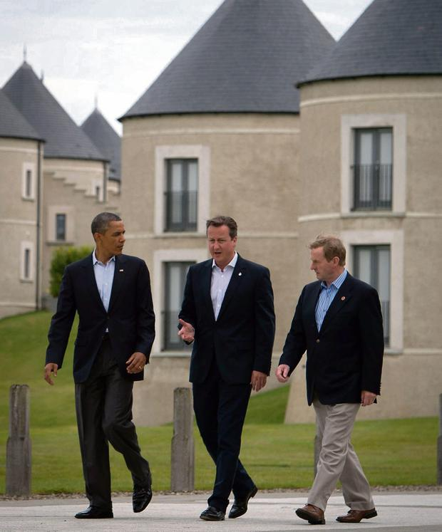 FUTURE TENSE: Barack Obama, left, David Cameron and Enda Kenny during the G8 Summit at Lough Erne last week