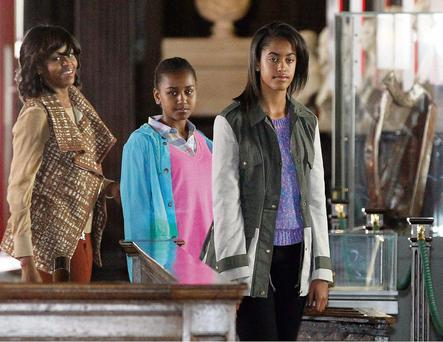 Michelle Obama with daughters Sasha and Malia in Trinity College, Dublin