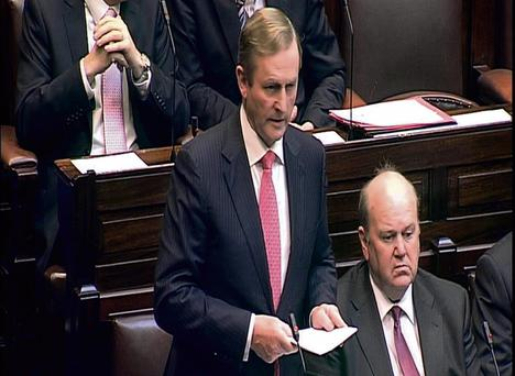 PROMISES: Enda Kenny answers questions on Anglo in the Dail and declares that a people's Dail will get to the bottom of the affair with a people's inquiry