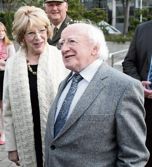 President Michael D.Higgins and his wife Sabina at the opening of Guaranteed in Tallaght