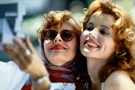 Susan Sarandon says she finds feminism alienating. Inset: Sarandon as Louise, with Geena Davis as Thelma, in the feminist caper 'Thelma & Louise'