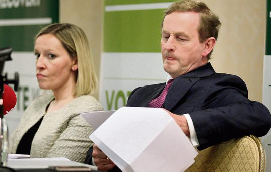 REBELLION IN THE RANKS: Taoiseach Enda Kenny and former junior minister Lucinda Creighton, who is one of a number of TDS to have been purged from the Fine Gael party