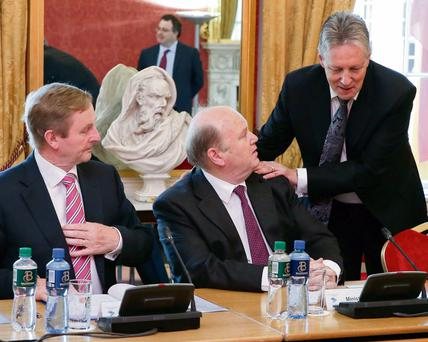 STATESMAN: Michael Noonan at a North South Ministerial meeting with Taoiseach Enda Kenny and Northern Ireland First Minister Peter Robinson