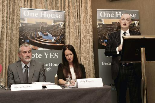 Former Trade union leader Kieran Mulvey and solicitor Mary Trayers at the launch of the