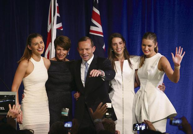 Tony Abbott flanked by his family, from left, daughter Frances, wife Margie, daughters Louise and Bridget