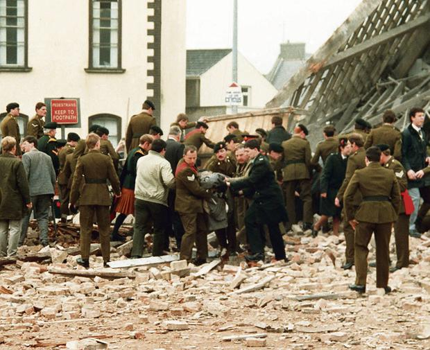POPPY DAY ATROCITY: The scene of the IRA bombing at Enniskillen in 1987 in which 11 people were killed; a recent book has shown that between 1971 and 1989 there were 203 murders in the Fermanagh and south Tyrone area but only 14 convictions followed