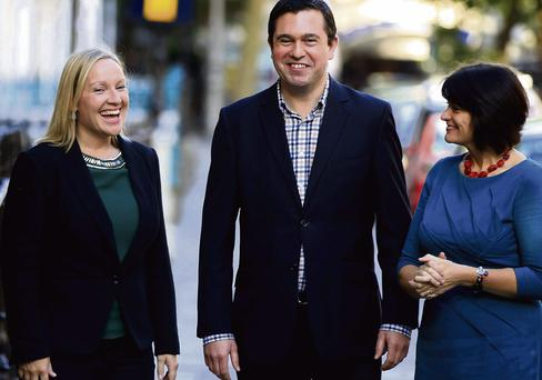 REBELS WITHOUT A PAUSE: From left, Fine Gael exiles and current Reform Alliance colleagues, Lucinda Creighton, Terence Flanagan and Fidelma Healy Eames joking outside Buswell's Hotel in central Dublin before they headed inside for their group's think-in