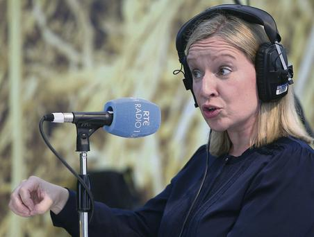 Lucinda Creighton is interviewed by Sean O'Rourke on RTE Radio 1 at the National Ploughing Championships at Rathineska, Stradbally, Co Laois, during the week. DAMIEN EAGERS