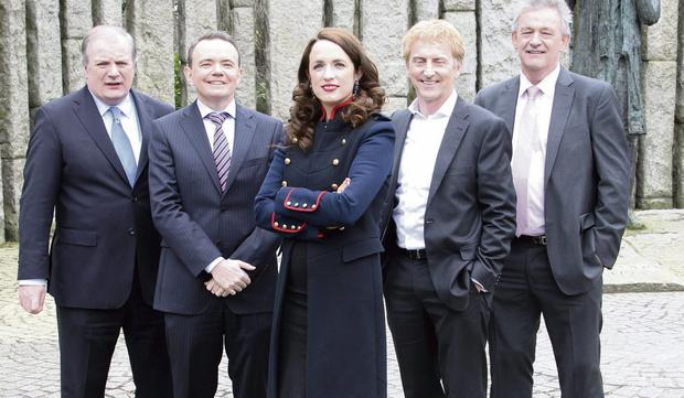 INVESTING IN IRELAND: From left, Gavin Duffy, Barry O'Sullivan, Ramona Nicolas, Sean O'Sullivan and Peter Casey at the launch of the fifth series of Dragons' Den earlier this year