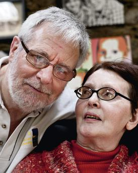 Tom and his wife Marie Flemming who is in the final stages of MS. Photo:Mark Condren