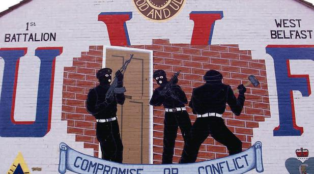 A UVF mural in Belfast. Evidence of collusion between UVF killers, police and soldiers has mounted