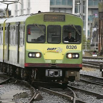 The DART two carriage configuration at Connolly Station