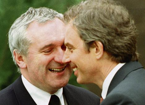 CHEMISTRY: The then Taoiseach Bertie Ahern with his British counterpart Tony Blair after the signing of the Good Friday Agreement