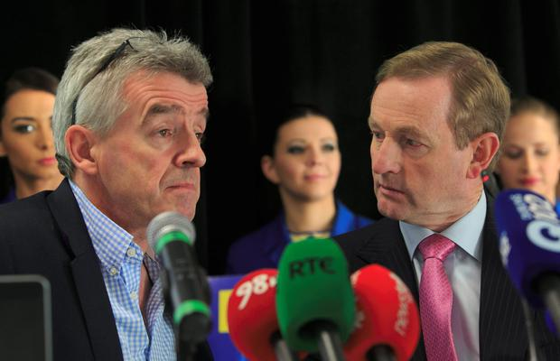 Michael O'Leary and Taoiseach Enda Kenny at yesterday's press conference.