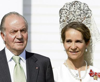 There have been calls for the King, pictured here with Infanta Elena, to abdicate in favour of Prince Felipe