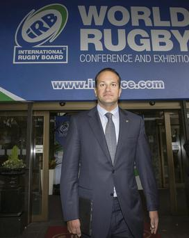 Transport, Tourism and Sport Minister Leo Varadkar at the Ballsbridge Hotel yesterday for the International Rugby Board conference. Mark Condren