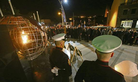 US Marines at a wreath-laying ceremony in New Ross for President Kennedy.