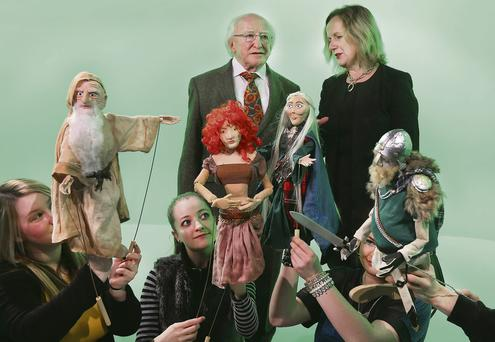 Michael D Higgins with Dr Annie Doona at the opening of the new National Film School Building at IADT