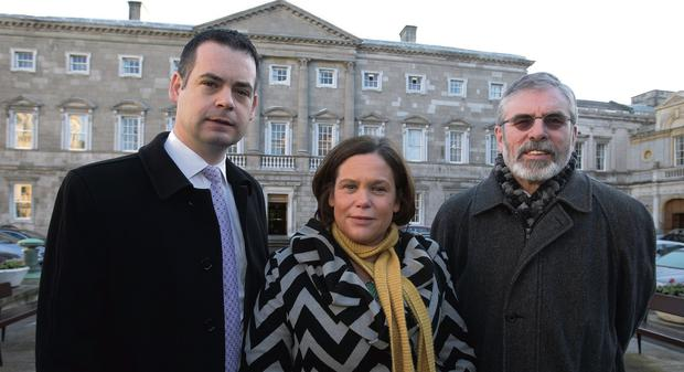 OURSELVES ALONE: Sinn Fein's finance spokesman Pearse Doherty, with the party's vice-president Mary Lou McDonald and president Gerry Adams outside Leinster House. Photo: Tom Burke